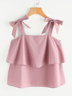 SheIn offers Bow Tie Shoulder Layered Top & more to fit tour fashionable needs. Girls Fashion Clothes, Teen Fashion Outfits, Girl Fashion, Girl Outfits, Fashion Dresses, Fashion Sewing, Crop Top Outfits, Cute Casual Outfits, Stylish Outfits