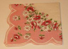 Vintage Pink Flower Handkerchief Cotton 12sq by softlychic on Etsy, $6.99