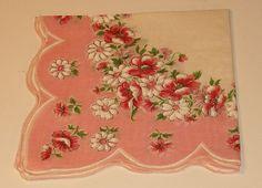 Vintage Pink Flower Handkerchief Cotton 12sq by softlychic on Etsy, $6.99