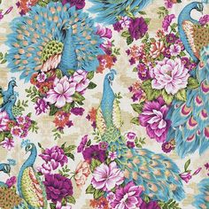 Chinese fabric with peonies and peacocks, LOVE this color combo for a table setting! Peacock Quilt, Peacock Fabric, Peacock Art, Peacock Theme, Peacock Design, Peacock Feathers, Japanese Textiles, Japanese Art, Chinese Fabric