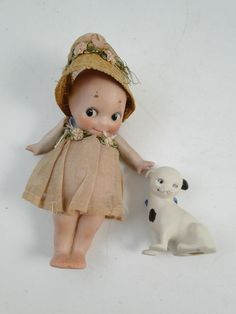 """Antique 1920s Rosie O'Neill Bisque Doll Mini Dog G.May SIGNED 5""""T Vintage Jointd"""