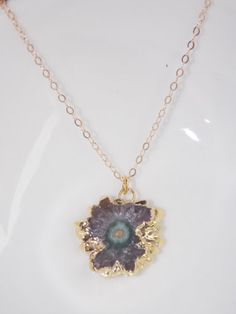 Round Amethyst Stalactite Slice Pendant Necklace by MalieCreations, $40.00