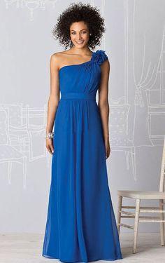 Directsale Floor-length A-line One Shoulder Zipper Chiffon Bridesmaid Dresses Free Measurement