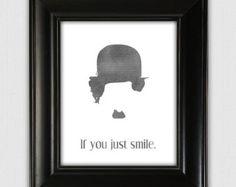 If You Just Smile, Charlie Chaplin, typographic print, illustrated print, printable print, wall decor, 8x10 poster