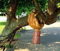 Old Horse ChestNut Tree In Brideford, Devon UK ~ John Butler Sculpted A Helping Hand To Hold Tree Up