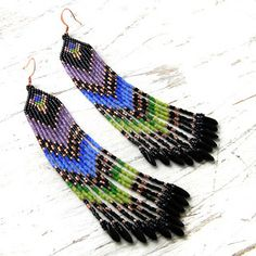 beaded earrings pattern (peyote / brick stitch, fringe)