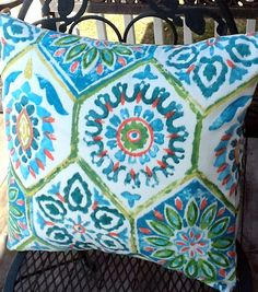 Outdoor Pillow Cover  20 square by mustlovehomedecor on Etsy, $24.00