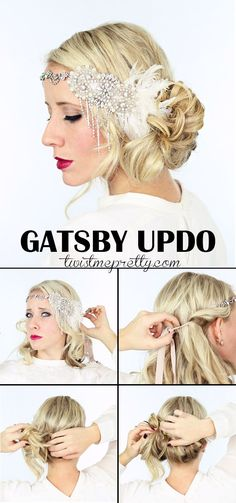 2 gorgeous GATSBY hairstyles for Halloween. or a wedding - Twist Me Pretty - The perfect Gatsby Hairstyles for your 1920 flapper girl costume! Come checkout the vintage updo an - Flapper Girls, Flapper Girl Costumes, Gatsby Costume, Gatsby Dress, Flapper Pie, Flapper Party, Diy Hairstyles, Wedding Hairstyles, Flapper Hairstyles