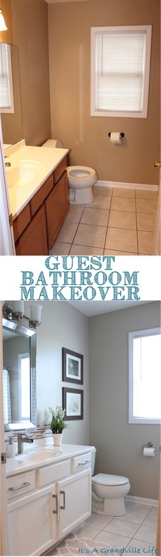 Easily transform your bathroom with some paint and new hardware! See the transformation and DIY projects yourself!. It's A Grandville Life : Guest Bathroom Reveal