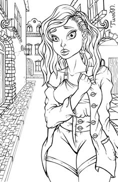 digital inking black women art color fashion colorful drawings adult coloring pages
