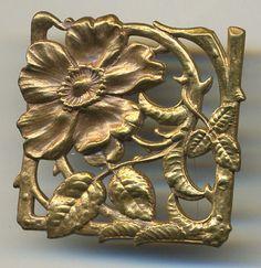 Unique Art Nouveau Design Square Vintage Brass Rose Thorns Vine Button | eBay