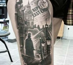 Awesome black and grey realistic tattoo style of Jack the Ripper motive done by tattoo artist Jacob Sheffield