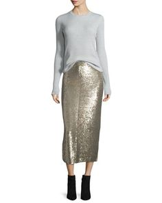 Serena+Ribbed+Wool+Top+&+Bump+Sequin+Midi+Skirt+by+IRO+at+Neiman+Marcus.