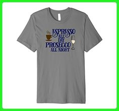 Mens Funny Prosecco Shirt Espresso Lover T-shirt Wine Drinker Tee Medium Slate - Food and drink shirts (*Amazon Partner-Link)