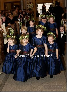 Navy flower girl dresses with Christmas Plaid Sashes