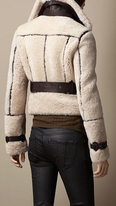 Leather Trim Shearling Jacket | Burberry - LOVE