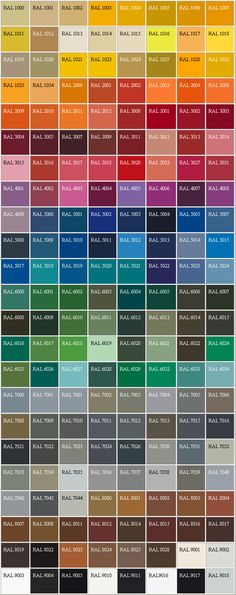 RAL Palette http://it.wikipedia.org/wiki/RAL_(scala_di_colori) http://www.pats.ch/formulaire/unites/unites11.aspx