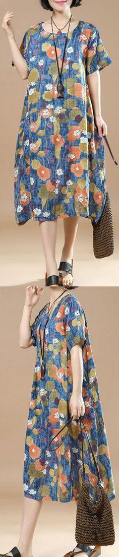 New blue prints linen knee dress plussize shirt dress women o neck short sleeve cotton dress