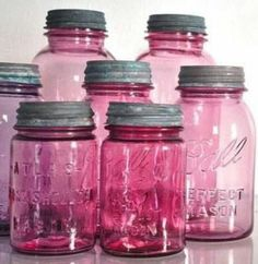 What's better than a mason jar.a PINK mason jar! Pink Mason Jars, Mason Jar Gifts, Bottles And Jars, Glass Bottles, Gift Jars, Liquor Bottles, Water Bottles, Ideas Para Premio, Pink Love