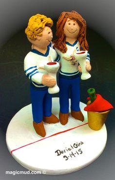 Lesbian Hockey Player's Wedding Cake Toppers custom made for same sex weddings! Handmade to your specifications. Lesbian Wedding Cake Topper #magicmud , $235  www.magicmud.com 1800 231 9814