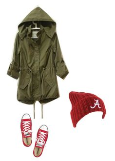 """Green military jacket, red beanie, red sneakers (converse)"" by explorer-14288293474 on Polyvore featuring Forever 21 and Converse"