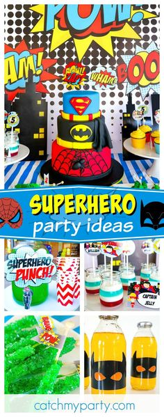 Check out this 'Pow-erful' Superhero Birthday Party! The tiered superhero birth. Check out this 'Pow-erful' Superhero Birthday Party! The tiered superhero birthday cake is fan Superman Party, Superhero Theme Party, Superhero Birthday Cake, Avengers Birthday, Boy Birthday, Spy Party, Birthday Ideas, Candy Party, 6th Birthday Parties