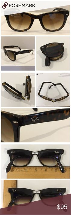 Authentic folding RAY BAN Wayfarer sunglasses Authentic folding RAY BAN Wayfarer sunglasses in brown tortoise shell color.  In excellent condition with no perceptible scratches on the lens. Lens inscribed with Ray-Ban and etched with signature RB. Made in Italy, model RB 4105 size 50. Does not come with case. Pls ask any questions you may have before purchasing. 🚫Trades. PRICE IS FIRM. Ray-Ban Accessories Sunglasses