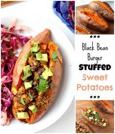 Black Bean Burger Stuffed Sweet Potatoes   C it Nutritionally #glutenfree #vegan #RecipeRedux