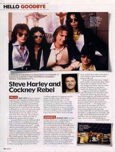 Steve Harley and Cockney Rebel. Steve Harley, Hello Goodbye, Press Release, Rebel, Rocks, Magazine, Magazines, Stone, Batu