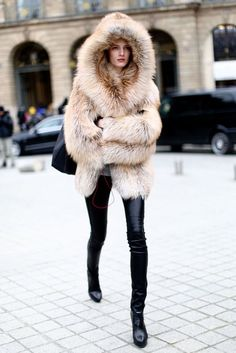 street style, fur coat, leather pants.