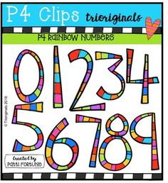 FREE RAINBOW Numbers {P4 Clips Triorignals Digital Clipart}