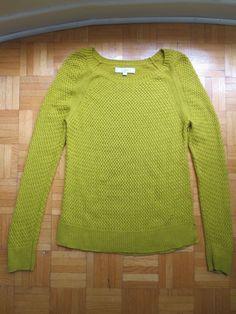 Ann Taylor LOFT Pea Green Soft Waffle Knit Fitted Sweater Large Fall Long Sleeve #AnnTaylorLOFT #Sweater