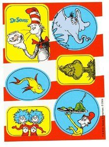 """Dr Seuss Classic Book Characters Party Stickers (4sheets) by Dr. Seuss. $1.99. From the Dr. Seuss Classic Book Characters Party Supply Collection. Dr Seuss Classic Book Characters Stickers. Package includes 4 sticker sheets. Each sheet has 6 stickers that include The Grinch, The Cat In The Hat, Horton the Elephant, Yellow Fish, Thing 1 and Thing 2 and also Sam's Friend. Stickers measure between 1"""" x 1 5/16"""" and 1 1/2"""" x 2"""". This product is officially licensed by Dr. Seuss Pro..."""