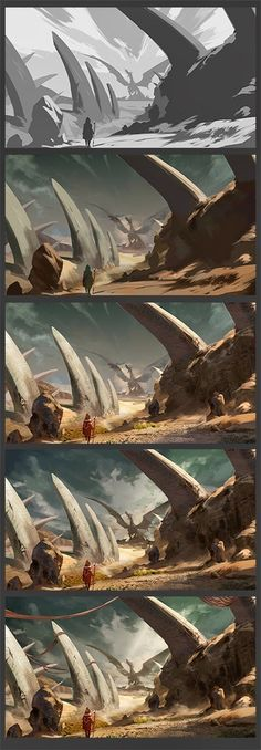Art work of Wei Chen: Dragon Cemetery Concept Art Tutorial, Digital Art Tutorial, Digital Painting Tutorials, Art Tutorials, Environment Concept Art, Environment Design, Painting Process, Process Art, Fantasy Landscape