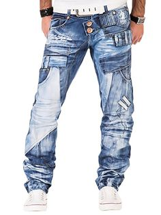 Kosmo Lupo Herren Jeans Denim Hose Japan Style Vintage Clubwear Chino Used Blau: Diy Jeans, Jeans Pant Shirt, Denim Jeans Men, Kosmo Lupo Jeans, Vetement Hip Hop, Mens Casual Suits, Mode Jeans, Japan Fashion, Mens Clothing Styles