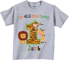 1st Birthday Shirts with Wild Jungle Animals by TheCuteTee on Etsy, $13.95