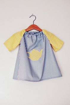 Yellow spots and blue striped teapot applique toddler babies girls tunic dress top in age 1-2