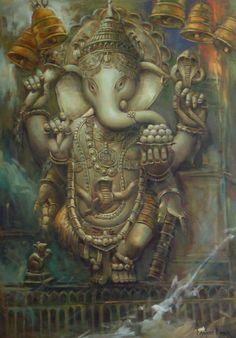 Ganesha Sculpture - Handpainted Art Painting - X Ganesha Painting, Hand Painting Art, Online Painting, Painting & Drawing, Paintings Online, Shri Ganesh, Ganesha Art, Lord Ganesha, Hanuman