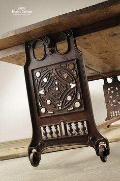 Long Industrial Plank Top Table on Wheels