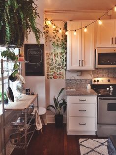 My bright and friendly kitchen (Raleigh, NC) : AmateurRoomPorn Dream Apartment, Apartment Interior, Hippie Apartment Decor, Apartment Ideas, Small Apartment Living, Small Living Rooms, Aesthetic Rooms, My New Room, House Rooms