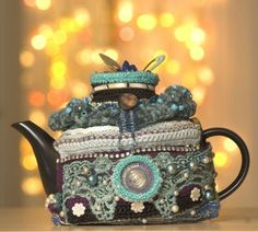 crochet covered teapot Exotic and Common Combined in Crochet Artist Karin Kempfs Creations