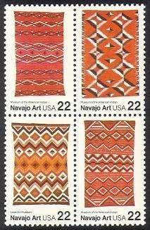 1986 22c Navajo Art, Block of 4 Scott 2235-38 Mint F/VF NH  www.saratogatrading.com