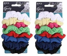 "Goody Ouchless Ribbed Hair Scrunchies - Assorted Colors "" 16 Scrunchies """