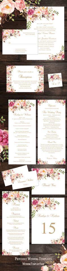 Wedding Reception Invitations, Programs, Seating Charts in the Watercolor Design series Romantic Blossoms.