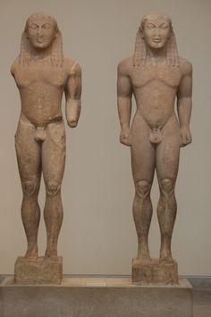 The two Kouroi of Argos, Kleobis and Bito, ca. 580 B.C., Delphi Archaeological Museum, Greece, 2011.