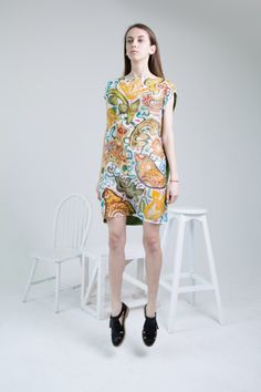 Hand painted silk dress with folk pattern