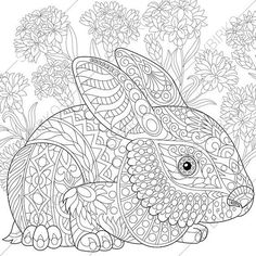 Stock vector of 'Stylized rabbit (bunny, hare), isolated on white background. Freehand sketch for adult anti stress coloring book page with doodle and zentangle elements. Easter Coloring Pages, Doodle Coloring, Animal Coloring Pages, Coloring Book Pages, Free Coloring, Coloring Sheets, Anti Stress Coloring Book, Zen Colors, Motifs Animal