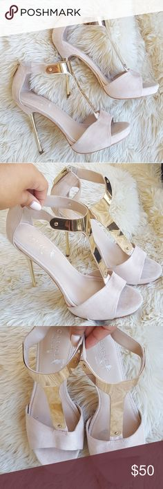 """Carvela Kurt Geiger Light Pink Suede Heels Light pink suede Marcela Kurt Geiger heels • condition: used. Scuffs on gold metal plate (view all pics for different angles on scratches. Marks on material. Heel: aprrox 3.25""""• 39= size 9 US • please view all pictures Kurt Geiger Shoes Heels"""