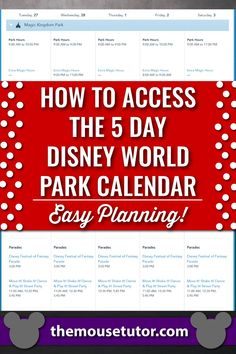 Did you know there's a 5 day at-a-glance park calendar on the Disney World website? #disneyworld #disneyworldplanning