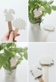 Oven-bake clay plant markers via Say Yes to Hoboken